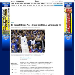 RJ Barrett leads No. 1 Duke past No. 4 Virginia 72-70