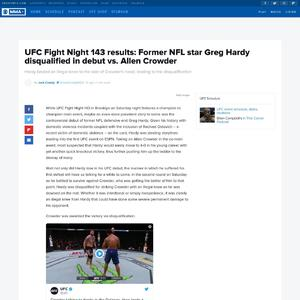 UFC Fight Night 143 results: Former NFL star Greg Hardy disqualified in debut vs. Allen Crowder