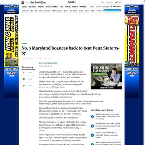 No. 9 Maryland bounces back to beat Penn State 79-67