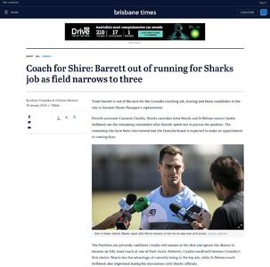 Coach for Shire: Barrett out of running for Sharks job as field narrows to three