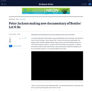 Peter Jackson making new documentary of Beatles' Let It Be
