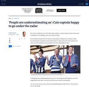 'People are underestimating us': Cats captain happy to go under the radar