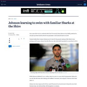Johnson learning to swim with familiar Sharks at the Shire