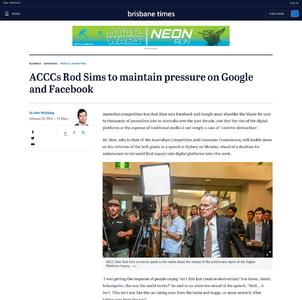 ACCCs Rod Sims to maintain pressure on Google and Facebook
