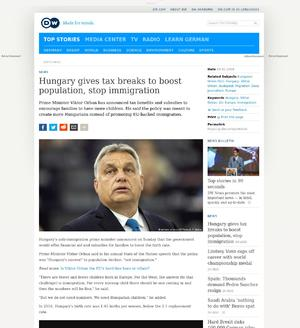 Hungary gives tax breaks to boost population, stop immigration