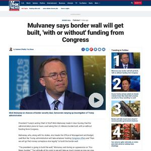 Mulvaney says border wall will get built, 'with or without' funding from Congress