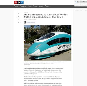 Trump Threatens To Cancel California's $929 Million High Speed Rail Grant