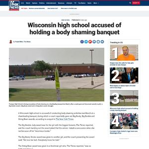 Wisconsin high school accused of holding a body shaming banquet