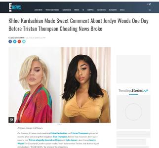 Khloe Kardashian Made Sweet Comment About Jordyn Woods One Day Before Tristan Thompson Cheating News Broke