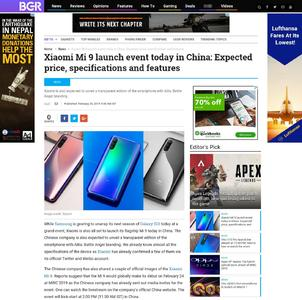 Xiaomi Mi 9 launch event today in China: Expected price, specifications and features