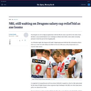 NRL still waiting on Dragons salary cap relief bid as axe looms