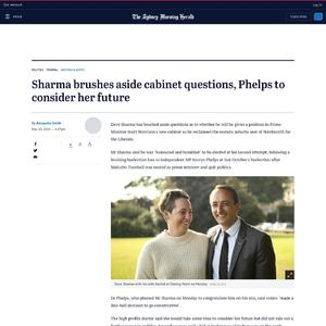Sharma brushes aside cabinet questions, Phelps to consider her future