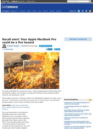 Recall alert: Your Apple MacBook Pro could be a fire hazard
