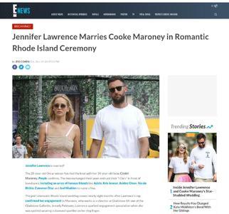 Jennifer Lawrence Marries Cooke Maroney in Romantic Rhode Island Ceremony