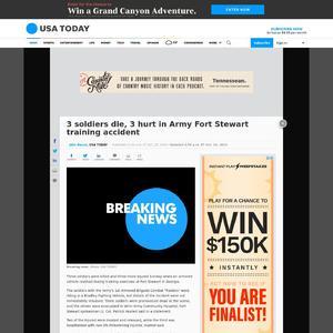 3 soldiers die, 3 hurt in Army Fort Stewart training accident
