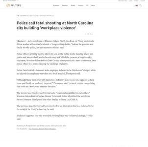 Two city employees killed in shooting at North Carolina municipal building
