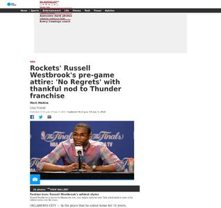 Rockets' Russell Westbrook's pre-game attire: 'No Regrets' with thankful nod to Thunder franchise