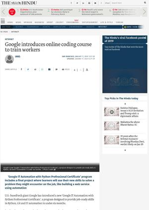Google introduces online coding course to train workers