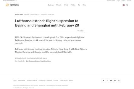 Lufthansa extends flight suspension to Beijing and Shanghai until February 28