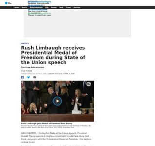 Rush Limbaugh receives Presidential Medal of Freedom during State of the Union speech
