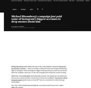 Instagram meme accounts paid to post for Bloomberg campaign