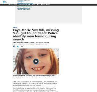 Faye Marie Swetlik, missing S.C. girl found dead: Police identify man found during search