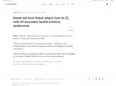 Death toll from Kabul attack rises to 27, with 29 wounded: health ministry spokesman
