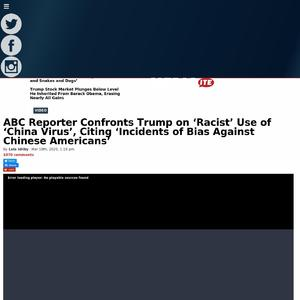 ABC Reporter Confronts Trump on 'Racist' Use of 'China Virus', Citing 'Incidents of Bias Against Chinese Americans'