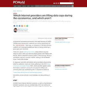 Which Internet providers are lifting data caps during the coronavirus, and which aren't