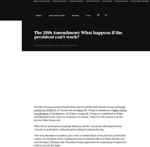 The 25th Amendment: What happens if the president - One ...