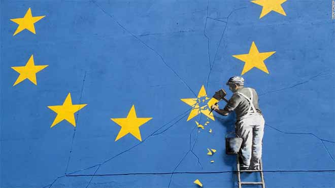 Banksy's latest mural artwork depicts Brexit